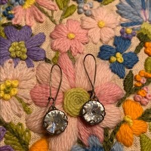 Gold with diamond rhinestone earrings